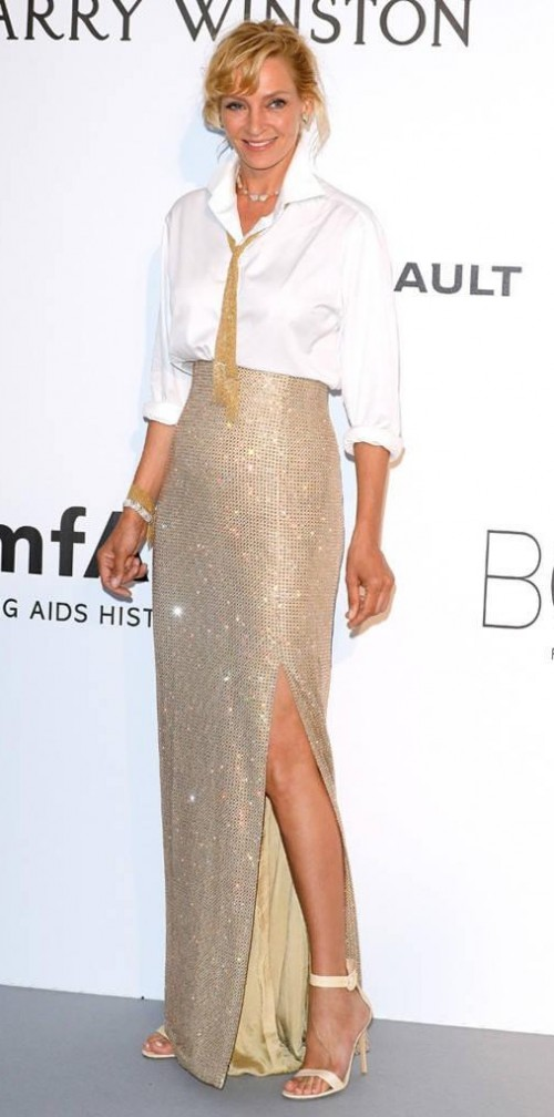 Yay or Nay? Uma Thurman wearing a Georgio Arman Prive outfit at the Amfar Gala during the Cannes Film festival - SeenIt
