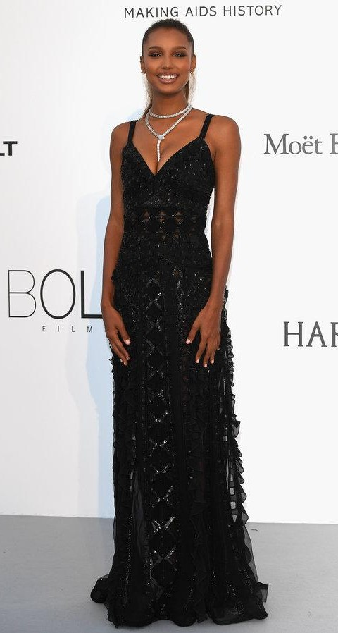 Yay or Nay? Jasmine Tookes wearing a black spaghetti strap shimmer gown at the Amfar Gala during the Cannes Film Festival - SeenIt