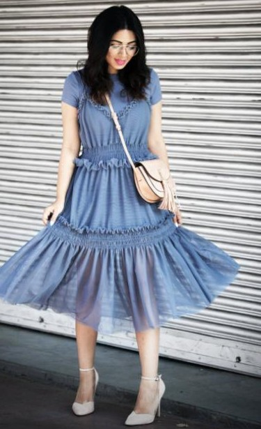 I'm looking for a similar blue midi dress with ruffles and a beige sling bag as seen on stylefashionetc - SeenIt