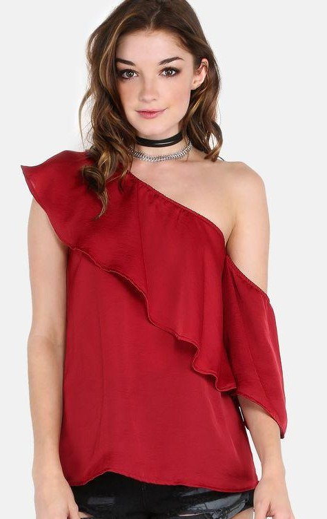 I'm looking for a similar red one shoulder top - SeenIt