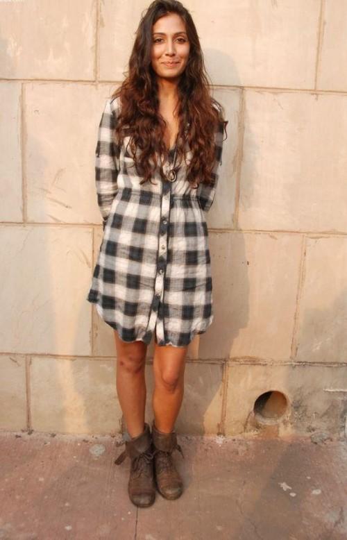 Need a similar grey checkered shirt dress like Monica Dogra is wearing. - SeenIt