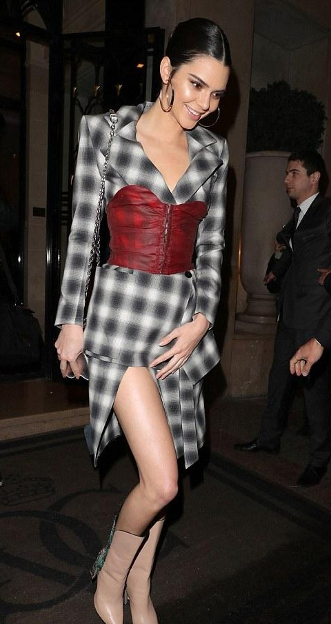 Yay or Nay? What do you think about Kendall Jenner's checked black and white dress and red corset belt? - SeenIt