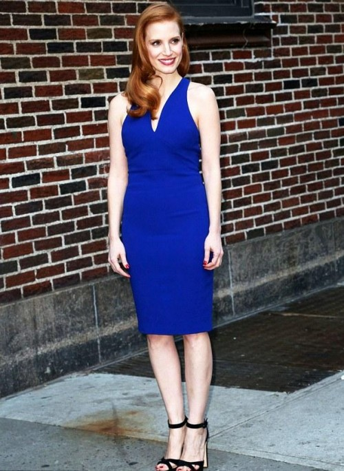 Where can I find a similar blue bodycon midi dress like Jessica Chastain is wearing. - SeenIt