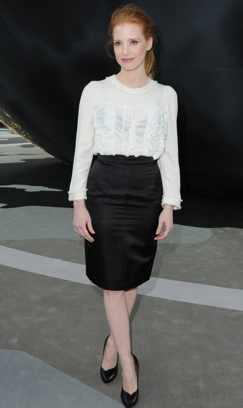 Looking for a similar white top and black pencil skirt like Jessica Chastain is wearing. - SeenIt