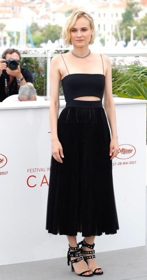 Yay or Nay? Diane Kruger spotted in a black pleated skirt outfit on day 10 during the Cannes Film Festival - SeenIt