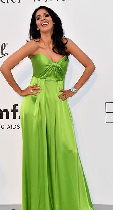 Yay or Nay? Mallika Sherawat wearing a green strapless gown at the Amfar Gala during Cannes - SeenIt