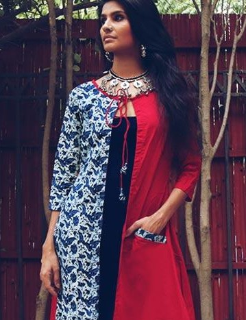 Looking for this navy blue maxi dress and block printed cape in red, blue and white.. - SeenIt