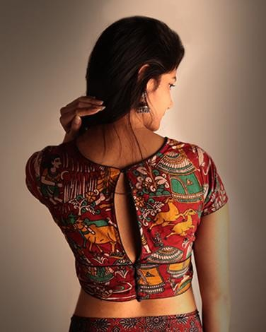 Need this kalamkari printed blouse to match with my saree!! - SeenIt
