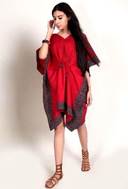 Get me this red kaftan dress with printed border... - SeenIt