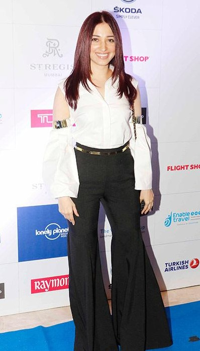 Yay or Nay? Tamannah Bhatia spotted wearing a white cold shoulder shirt and black flared pants at the Lonely Planet India awards 2017 - SeenIt
