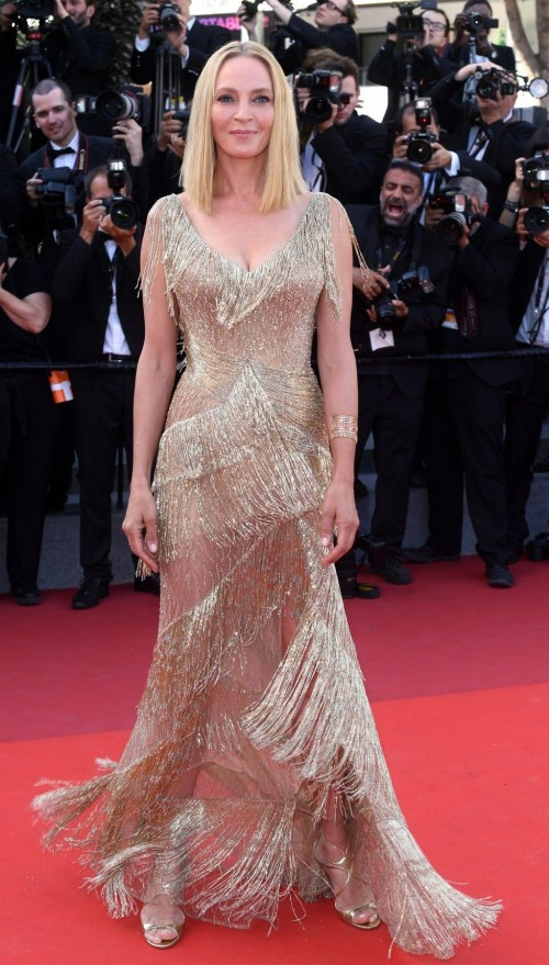 Yay or Nay? Uma Thurman in a Versace fringed gown at the closing ceremony of Cannes Film Festival 2017 - SeenIt