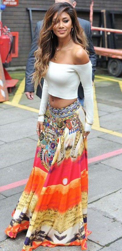 a64f514ba Help me find a similar white off shoulder crop top and multicolor maxi skirt  as Nicole