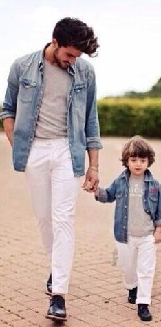 43b769c659 I m looking for a similar blue denim shirt and white jeans for my father