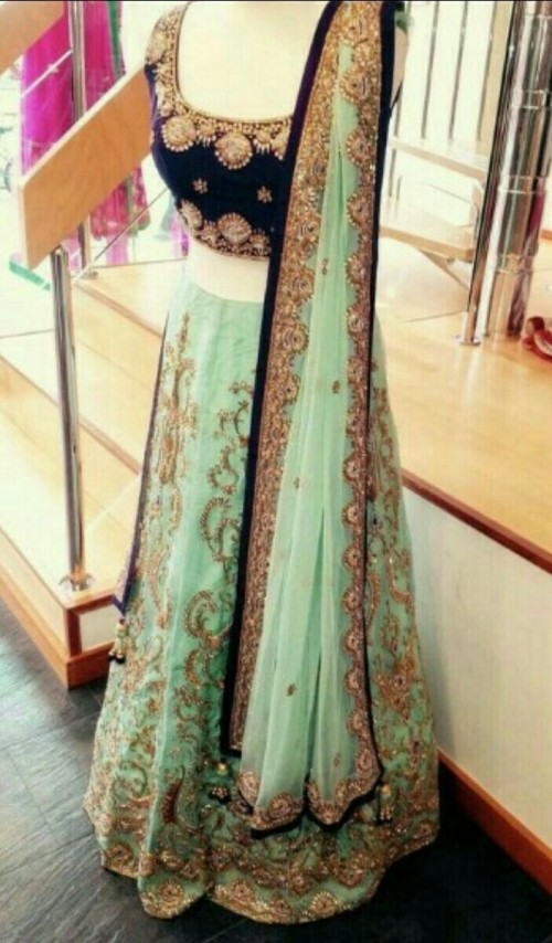 Want a similar mint green and blue beaded embroidered lehenga - SeenIt