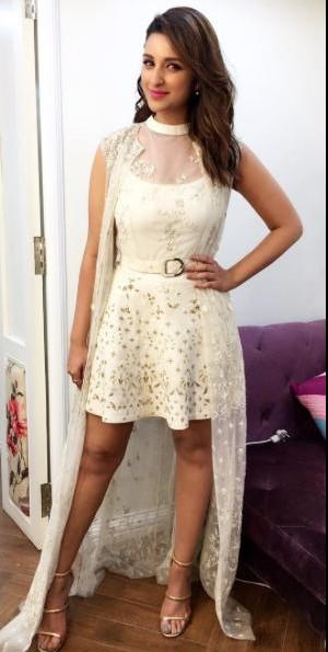 I am looking for a similar white embroidered outfit like which Parineeti Chopra wore for the promotions of meri pyari bindu. - SeenIt