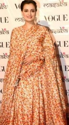 3875a123ace Looking for a similar cream floral kurta and dupatta set as seen on Dia  Mirza -