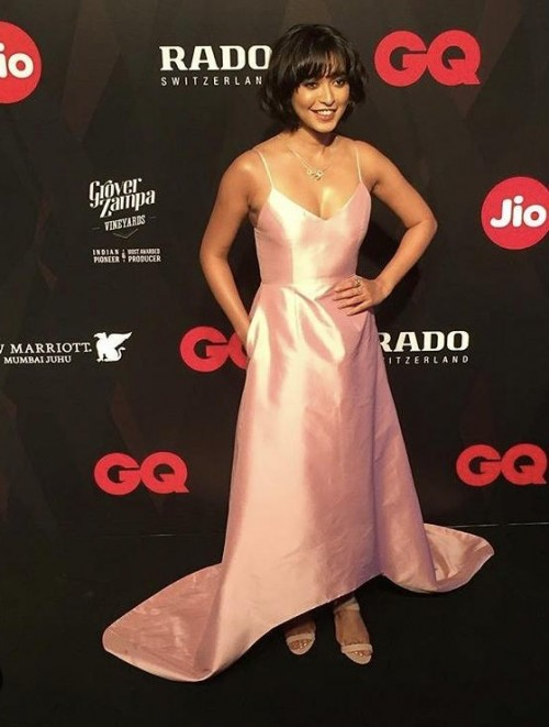 Yay or Nay? Sayani Gupta wearing a peach asymmetric gown at the GQ Awards Red Carpet 2017 - SeenIt