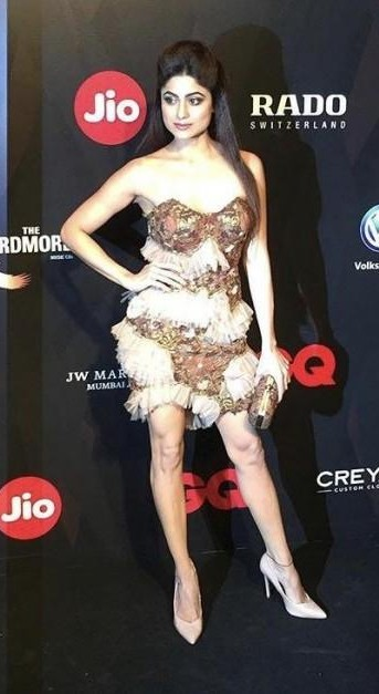Yay or Nay? Shamita Shetty wearing a strapless fur and sequin dress at the GQ Awards Red Carpet 2017 - SeenIt