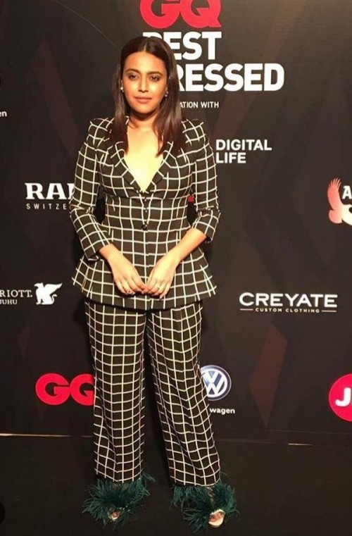 Yay or Nay? Swara Bhaskar wearing a checked pant suit with fur shoes at the GQ Awards last night - SeenIt