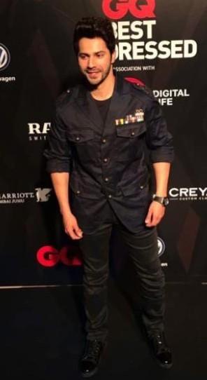 Yay or Nay ? Varun Dhawan at the GQ Awards 2017 wearing a navy jacket and jeans - SeenIt