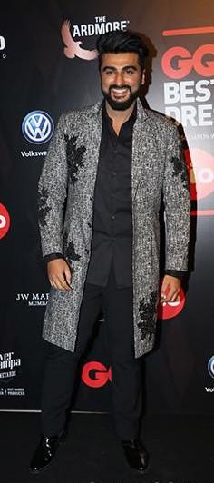 Yay or Nay? Arjun Kapoor wearing a long grey embroidered coat at the GQ Awards 2017 - SeenIt