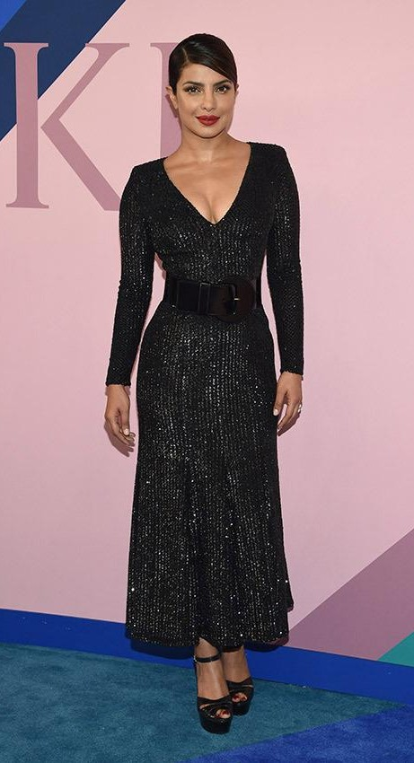Yay or Nay? Priyanka Chopra wearing a black shimmer Michael Kors dress at the CFDA Awards last night in New York - SeenIt