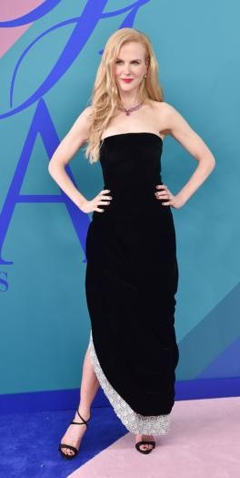 Yay or Nay? Nicole Kidman wearing a black strapless Oscar de la Renta dress at the CFDA Awards last night in New York - SeenIt