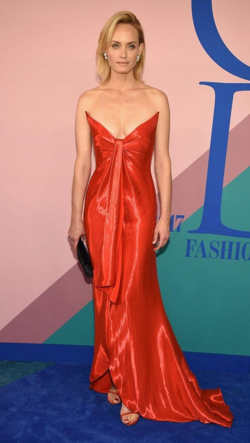 Yay or Nay? Amber Valleta wearing a red strapless trail gown at the CFDA Awards last night in New York - SeenIt