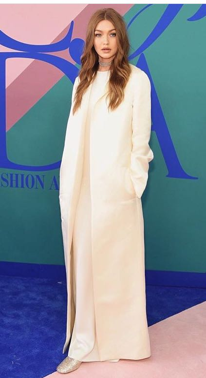Yay or Nay? Gigi Hadid in this long cream coat at the CFDA awards - SeenIt