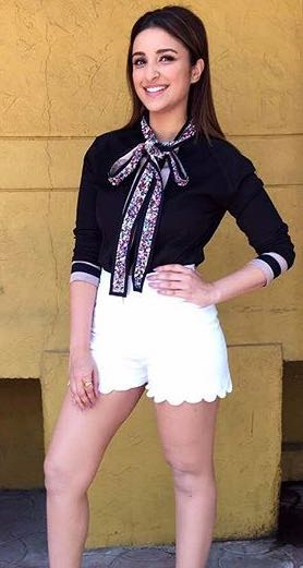 I'm searching for similar white shorts which Parineeti Chopra is wearing - SeenIt