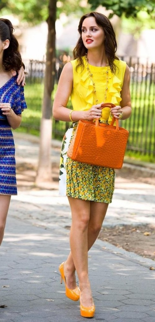 looking for a similar yellow ruffle top as seen on Leighton Meester and also the orange pumps and handbag. - SeenIt