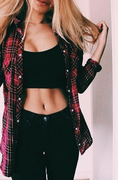 Want the black jeans and the red flannel shirt - SeenIt
