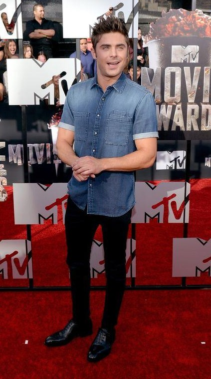 looking for similar blue denim shirt black pants and shiny black oxfords as seen on zac efron. - SeenIt