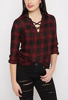This red and black tartan plaid lace up top is what I am looking for! - SeenIt