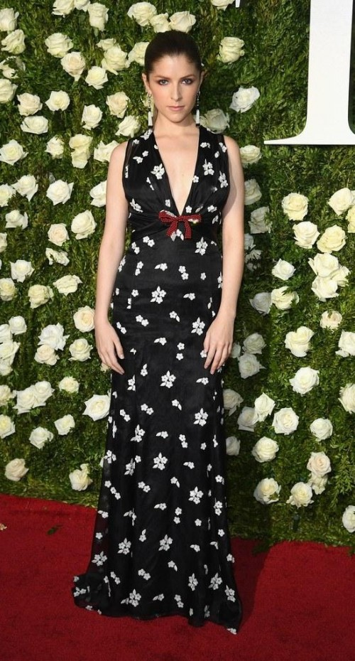 Yay or Nay? Anna Kendrick spotted wearing a black floral print gown at the Tony Awards Red carpet last night in New York - SeenIt
