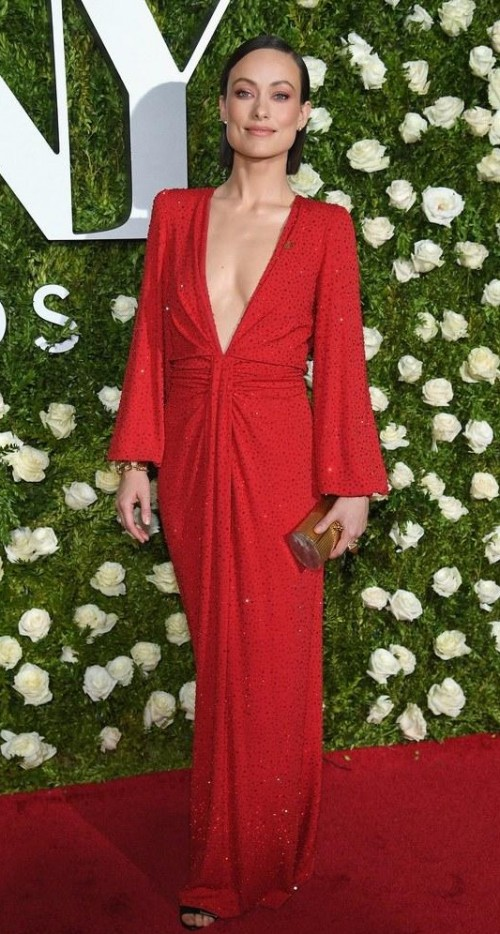 Yay or Nay? Olivia Wilde wearing a red plunging neckline Michael Kors gown at the Tony Awards Red Carpet 2017 - SeenIt