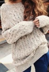Got this on pinterest the other day... oversized grey knitted sweater must have for winters! SeenIt? - SeenIt