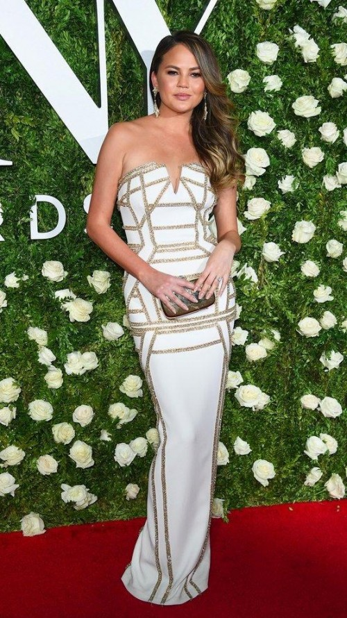 Yay or Nay? Chrissy Teigan wearing a white sequin strapless gown  at the Tony awards Red carpet last night in New York - SeenIt