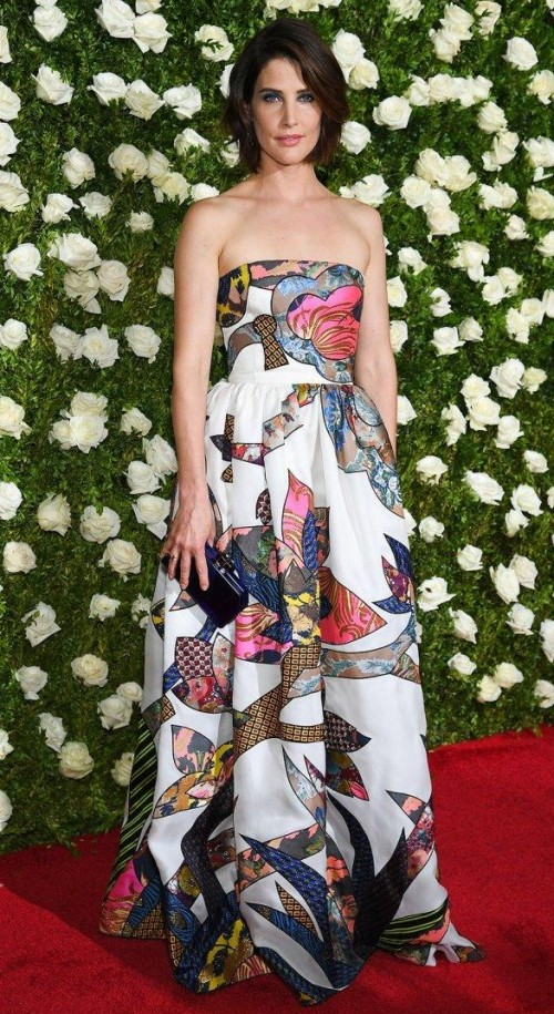 Yay or Nay? Coby Smulders spotted wearing a printed strapless flared gown at the Tony awards Red carpet last night in New York - SeenIt