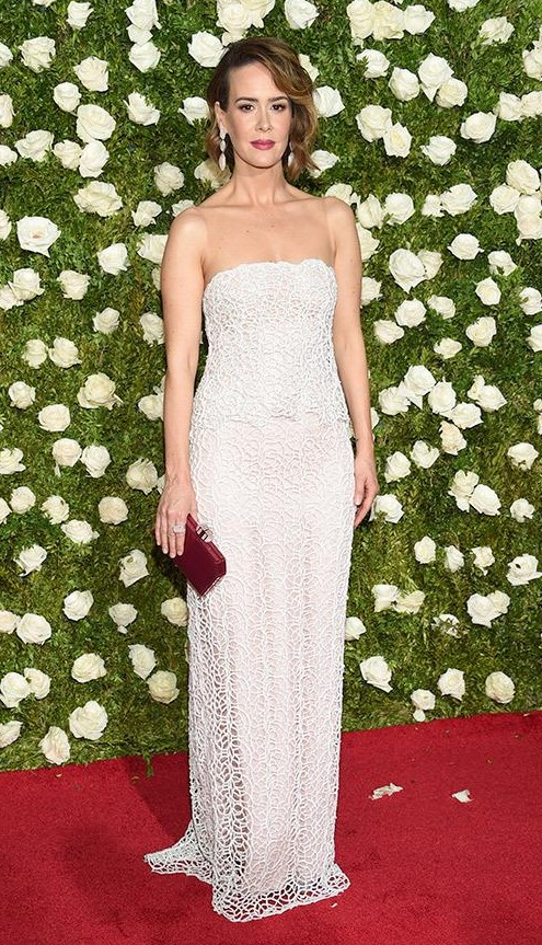 Yay or Nay? Sarah Paulson wearing a lace white strapless gown at the Tony awards Red carpet last night in New York - SeenIt