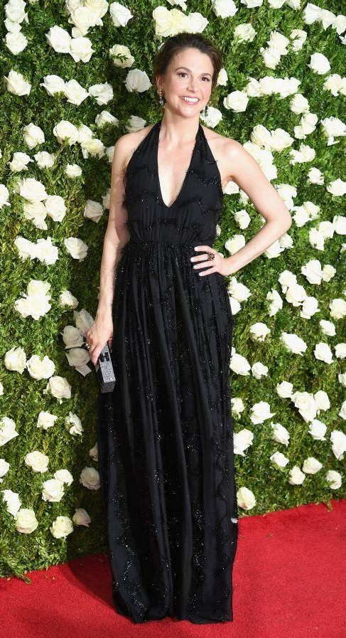Yay or Nay? Sutton Foster wearing a black halter gown at the Tony Awards Red Carpet last night in New York - SeenIt