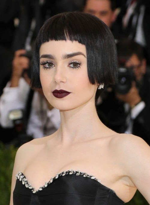 Looking for a shade of black lipstick similar to the one Lilly Collins was wearing at the met gala - SeenIt