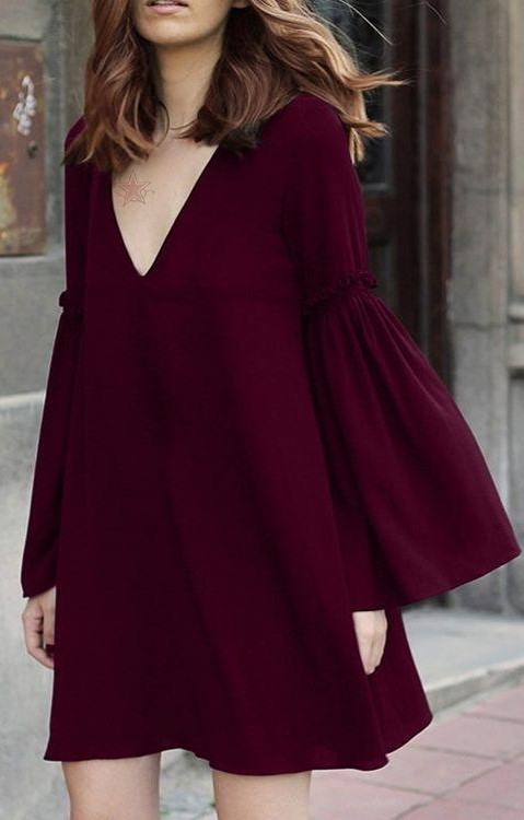 I'm looking for a similar plum dress with bellsleeves - SeenIt