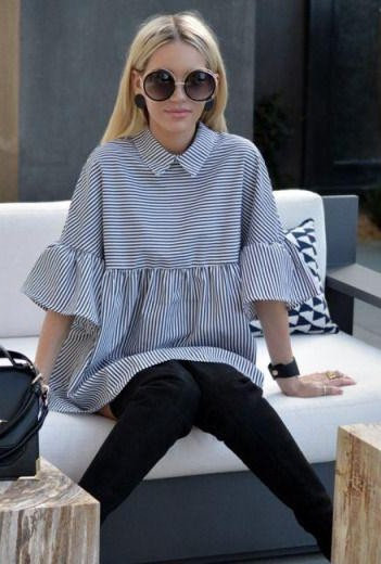 I'm looking for a similar blue and white top with stripes and bellsleeves and black round sunglasses - SeenIt