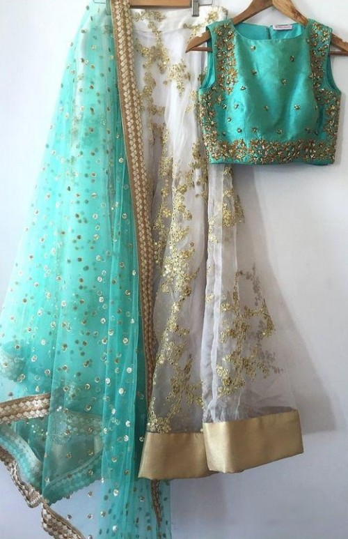 Looking for this mint green and white embellished lehenga set.. - SeenIt