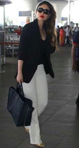 Looking for similar black bag, blazer, white pants, black top and sunglasses that Kareena Kapoor is wearing. - SeenIt