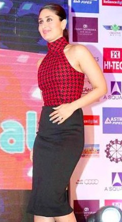 Looking for a similar checked high neck sleeveless top with long black skirt that Kareena Kapoor is wearing. - SeenIt