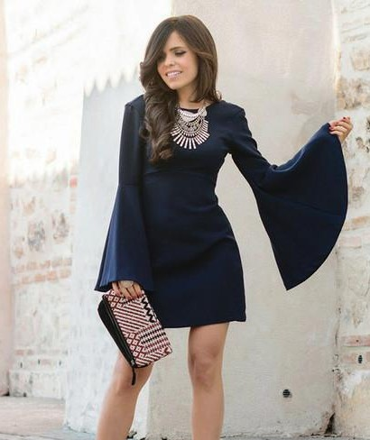 looking for a similar indigo colour bell sleeves dress as seen on her,help me - SeenIt