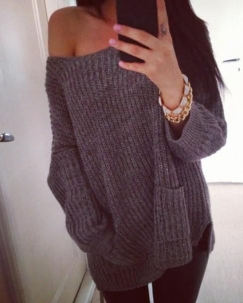 need something like this oversized drop shoulder sweater  in plain black. - SeenIt