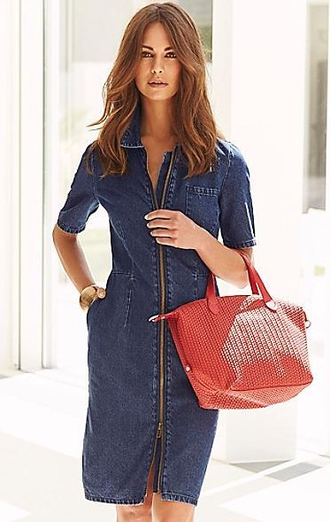 looking for a similar indigo colour denim dress as seen on her,help me find one. - SeenIt